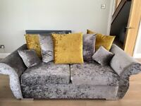 Silver/Grey Velvet 3+2 and Cuddle Chair (Set)