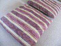 2 large cushions, 50cm square, maroon and gold