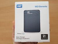New 2TB WD Elements Portable Hard-Drive USB3