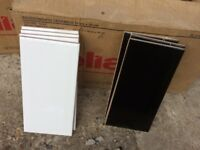 2.5 sq m white/black wall tiles. 20cm by 10cm