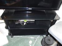 Black Glass Television (TV) Stand