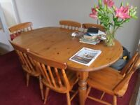 Ducal pine dining room extendable table and six matching chairs