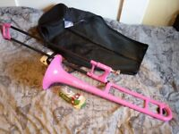 Pbone plastic trombone pink with Denis Wick mouthpiece, perfect for beginner, excellent condition