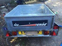Erde Classic 102 Trailer Steel 245kg Load Drop Down Rear Tailgate Hardly Used with high framed cover