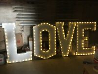 4ft x 2ft white LOVE light up letters for hire £180