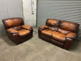 FREE DELIVERY REAL LEATHER BROWN RECLINER SOFA & ARMCHAIR GOOD CONDITION