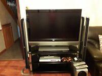 42 inch HD TV With Smoke Glass Stand
