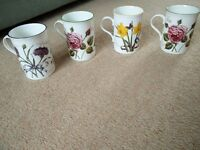 4 Laura Ashley bone china mugs