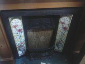 Tiled fireplace cast iron insert