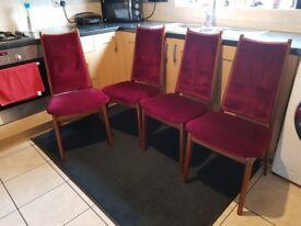 Dark Wood Burgandy Velvet Chairs x 4