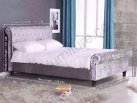 Crush Velvet Fabric upholstered sleigh bed frame 3ft, 4ft,4.6ft ,5ft, FRAME ONLY