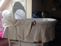 Emile Rose white Moses basket & stand