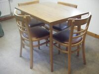 Small wooden kitchen utility table & 4 sturdy chairs