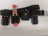 Details about Scaffolding Leather Tool Set Belt - 9'' Magnetic Level & Tape Measure Included