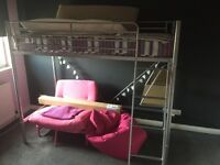 Metal Bunk Bed with futon chair