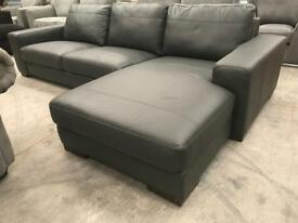 Brand new grey real leather corner chaise sofa