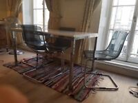 Dining room table and four chairs (modern)