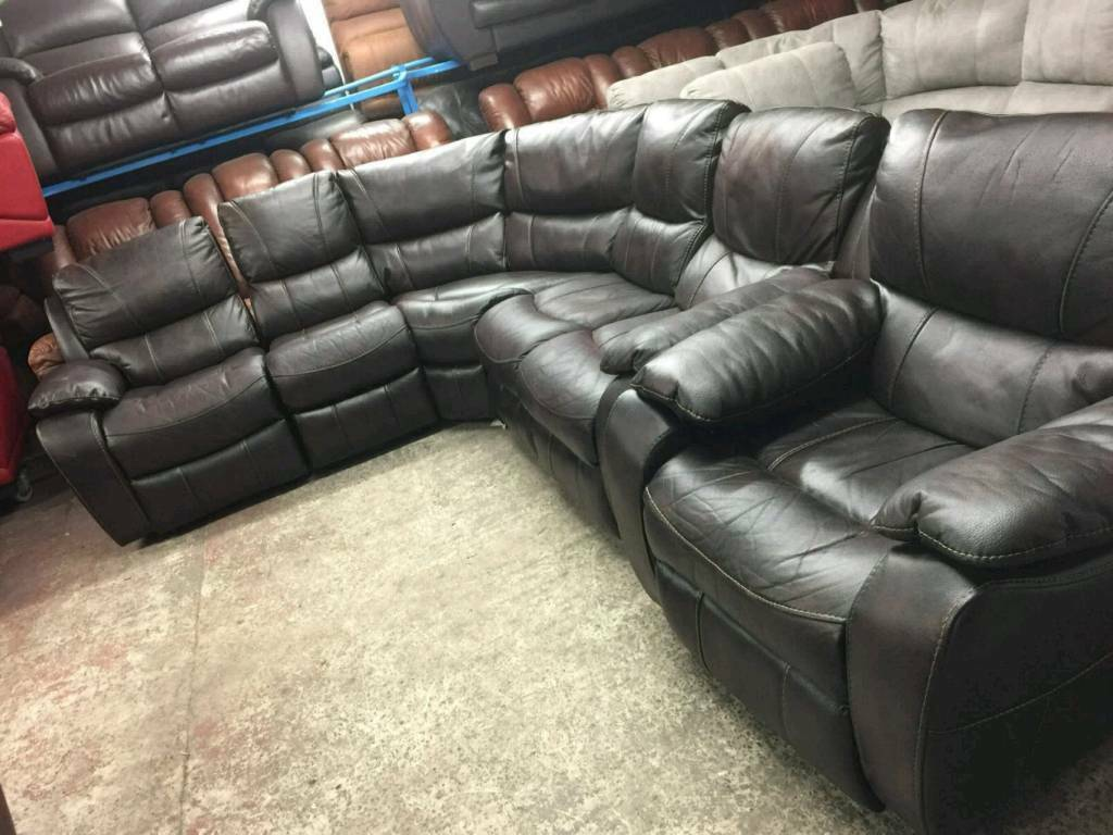 Ex display Brown corner sofa electric reclining chair
