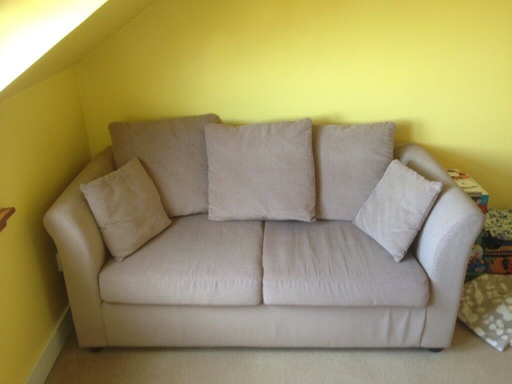 Small Double Sofa Bed Cream Excellent Condition In