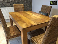 Kitchen Dinning Table Mango wood table seats 4 people 120cm x 90cm solid wood