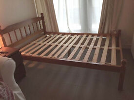 Pine double bed frame - good condition, standard size
