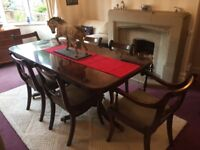 Chapmans extendable mahogany dining table with 6 chairs including 2 carvers