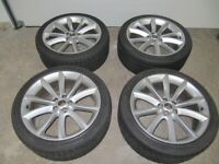 "4 GENUINE JAGUAR AQUILAR 19"" ALLOY WHEELS, FITTED WITH WINTER TYRES"