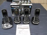 5 PANASONIC CORDLESS PHONES QUAD SET +1 WITH ANSWERPHONE