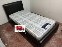 Single leather bed with mattress (delivered free)