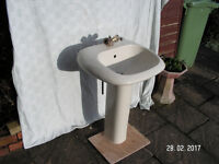 Ideal Standard Basin and Pedestal in Champagne with gold plated mono tap, waste and trap. £25 only