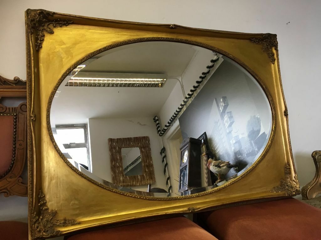 French Ornate Rococo Mirror Over Mantle Vintage Antique Large Gold
