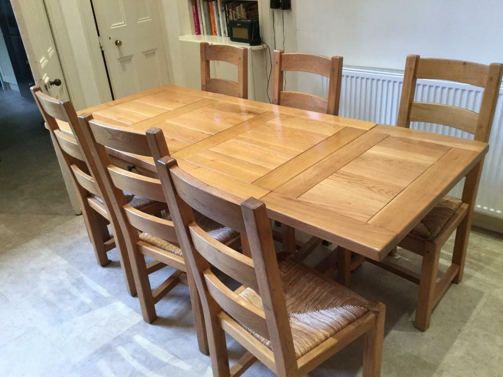Dining Table And 6 Chairs Handmade Oak Top Quality