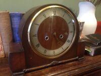 Antique Mantle Clock, pendulum missing, spares or repairs, or decorative