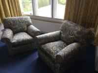 2 x armchairs reholstered , great condition