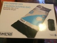 Brand new campervan sleeping bag and lunch box