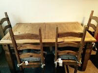 Corona Mexican Pine Dining Table And Chairs