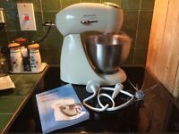 Kenwood Patissier Mixer in cream with three heads; beater, whisk and dough hook