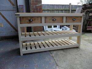 Solid Pine Rustic Handmade, Freestanding Kitchen  Unit, Butchers Block Style
