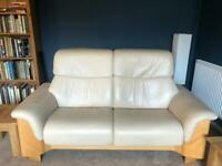 3 piece leather sofa with arm chairs + foot rests