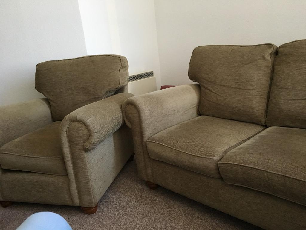 Two seater sofa and chair
