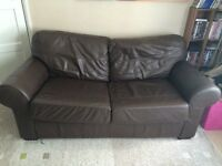 2 Seater Brown Leather Sofabed