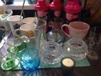 Kitchen bundle job lot cups mugs tea light holders ice cream dish shake bottles glass