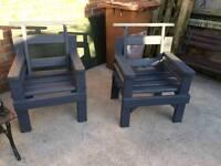 Heavy Wooden Garden Chairs x2