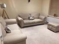 2 x 2 seater sofas and matching pouffe