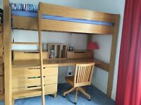 Aspace Winslow High Sleeper, full size single bed, chair included
