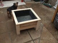 NEW ] WOODEN LARGE LOW SQUARE PLANTER