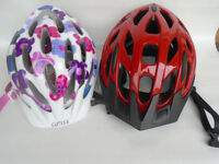Superb PAIR OF HIS & HERS Bicycle / Cycle Protective Helmets . Used only Twice !