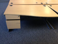 office desk wave with 3 drawers