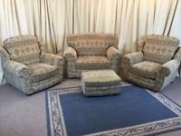 3 Piece Suite & Footstool - Floral Sofa & 2 High Wing Back Armchairs & Ottoman