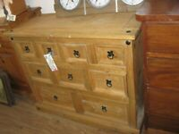 MODERN 'CORONA' SOLID PINE LARGE CHEST OF 9 DRAWERS. IDEAL IN ANY ROOM